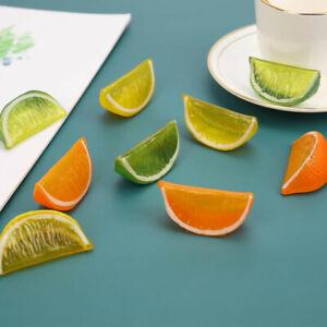 3pcs Artificial Fruit Simulation Lemon Slices Fake Model Kitchen DecorationB^qi