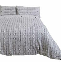 ARAN KNIT PRINT GREY WHITE 100% BRUSHED COTTON KING SIZE DUVET COVER