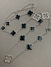 Alhambra Clover Design Necklace Black Enamel Silver Tone