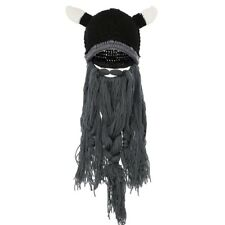 ⚔️Badass Viking Beanie Beard Hat Barbarian Men's Warm Knit Horn