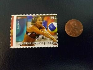 Kerri Walsh Athens Olympic Beach Volleyball Gold Republique Stamp RARE WOW