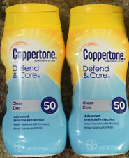 2 Lot Coppertone Defend & Care SPF 50 Sunscreen Lotion Clear Zinc Exp 04/20 New