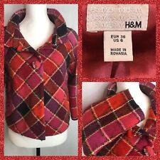 Womens H&M Size 6 Shell Wool 70% Plaid Jacket