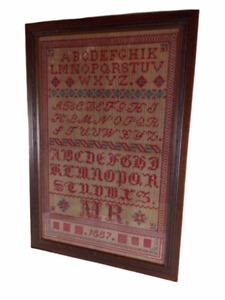 ANTIQUE 19th Century Sewing Sampler Alphabet Folk Art In Frame Dated 1887