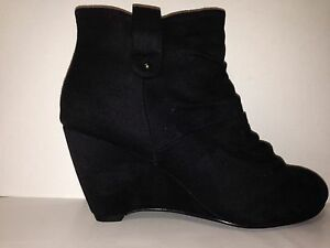 """WOMEN SHOES""""BACK""""BY NO!SHOES MID HEIGHT WEDGE HEEL ANKLE BOOT IN BLACK 5to10"""