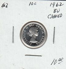 G2 CANADA 10c - 10 CENTS COIN 1962 BRILLIANT UNCIRCULATED - CAMEO FROSTED DESIGN