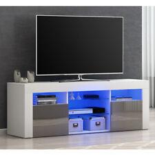 Modern TV Unit Cabinet Stand Grey High Gloss Doors and White Matt Body FREE LED