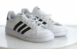 08-36 New $65 Men's Size 9M Adidas Grand Court Leather Sneaker in White w/ Black