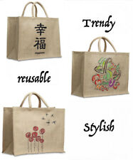 Jute Reusable Shopping Bag Tote Recycled Plastic Spill Proof Liner Medium New