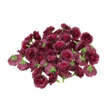 50pcs Silk Rose Artificial Bridal Clips Decor Fake Flower Heads Fuchsia