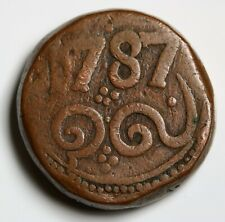 DUTCH EAST INDIES NETHERLANDS CEYLON. 2 STUIVER 1787 VOC THICK RARE COIN