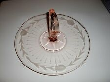"VINTAGE~RARE~PINK DEPRESSION GLASS~SERVING TRAY~CENTER HANDLE~CAKE PLATE~10""D"
