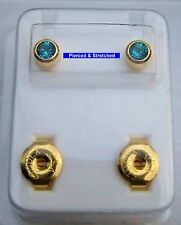 STERILE 24ct GOLD Plated BLUE ZIRCON GEM Stud EARRINGS - Sold in Pairs