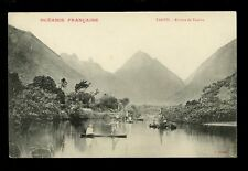 France Cols Pacific Polynesia TAHITI Tautira Canoe vintage PPC spear fishing