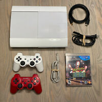 Sony PlayStation 3 PS3 Rare White Super Slim 500GB w/ 2 Controllers - TESTED!