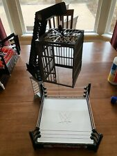WWE Crash Cage Wrestling Ring Playset With Crane WORKS Almost Complete