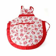 Women Apron with Ruffle Pocket Floral Roses for Cooking Kitchen  LW SZUS