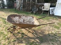 Antique Metal Wheelbarrow Rustic Cottage Garden ART PLANTER