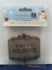 NEW STUDIO G CLING MOUNTED RUBBER STAMP HAPPY HOLIDAYS  IC0119 292