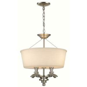 Hampton Bay Mayport Collection 3-Light Brushed-Nickel Hanging Large Pendant