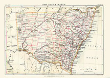 1876 Color County Map of NEW SOUTH WALES - Great Detail