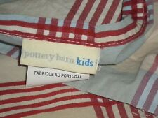 Pottery Barn Kids 3pc Full Sheet Set Plaid Red White Blue Tan Vintage Boys Girls