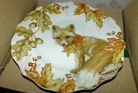 PIER 1 DAISY THE FOX SALAD LUNCH PLATES SET OF 4   NEW IN BOX