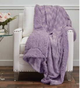 The Connecticut Home Company Faux Fur with Sherpa Reversible Throw Blanket, Many