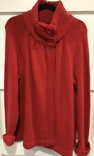 Old Navy Womens Large Red Knit Sweater Buttons At Neck Holiday Christmas