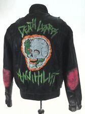 HEIN GERICKE Punk Leather Motorcycle Jacket Black Neon Custom Mens 46 fits L/XL