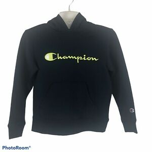 Champion Boy's Hoodie Sweatshirt Size Small (8) Navy W/Green Lettering LS