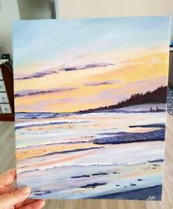 12 x10 inches acrylic on canvas board, pastel ocean sunset by Leigh Elks