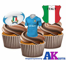ITALIA MAGLIA DA RUGBY BALL & bandiera MIX 12 COMMESTIBILE cup cake wafer DECORAZIONI PER DECORAZIONI