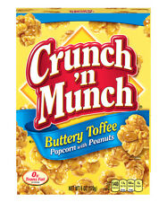 NEW CRUNCH 'N MUNCH BUTTERY TOFFEE POPCORN WITH PEANUTS 6 OZ BOX FREE SHIPPING
