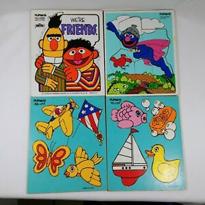 Frame Tray Puzzles Sesame Street and Things That Fly and For My Bath Vintage
