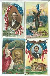 Lot of 4 Abe Lincoln Postcards Patriotic Political