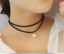 Fashion Women Gothic Burlesuque White pearl Black Velvet Choker Collar Necklace