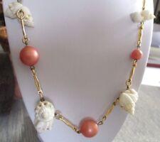 Original Collier couleur or bijou vintage coquillages perles roses  689