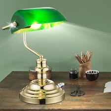 Classique Lampe de table Bureau banquier H 36 cm vert LAITON Rétro