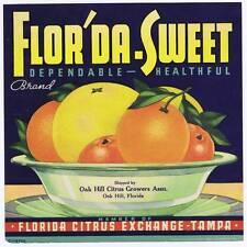 Flor'da-sweet, original florida orange crate label,  tampa