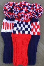 "3 HAND KNIT 8"" GOLF HEAD COVERS RED WHITE NAVY BLUE HYBRID IRONS FUN GIFT"