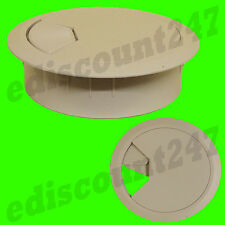 SOLID 80mm Desk Plastic Grommet BEIGE Table Cable Tidy Wire Hole Cover UK SELLER