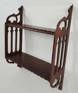 Vintage Fretwork Wall Shelf Display 2-Tier Rack Tea Cup Plate Curio Chippendale