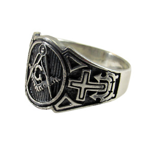 Handcrafted Solid 925 Sterling Silver Men's Freemason Masonic Ring