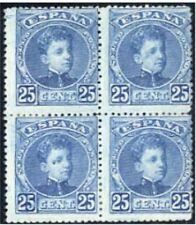 Sellos de España 1901-1905 nº 248  Bloque de cuatro Alfonso XIII charnela
