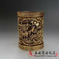 Collection Chinese Totem Dragon Carved Brass Pen Holder Statues