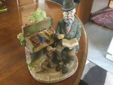 Vtg. Lefton Figurine # 2432 Old Bookseller In Park& Dog Hand Painted 6� Ex.Cond.