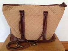 LL Bean Quilted Cotton Leather Straps Corduroy Tote Handbag Purse Shoulder Strap