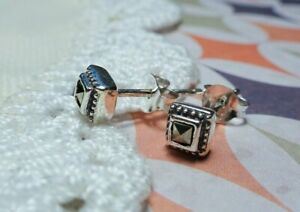 My S Collection 925 Sterling Silver & Marcasite Square Stud Earrings