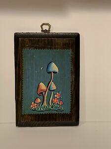 Vintage Wood Mushroom Decopauge Folk Wall Art Signed